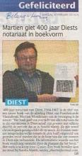 Martien giet 400 jaar Diests notariaat in boekvorm